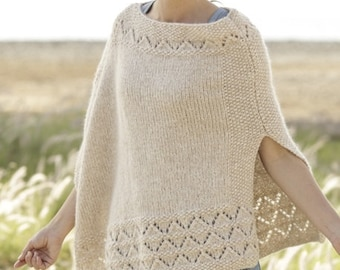 Handmade hand knit poncho sweater / cape / wrap in warm and soft baby alpaca and merino wool with lace pattern. Sizes S/M, L/XL, XXL, XXXL