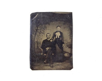 Vintage Tintype Photo of Husband Wife Couple / Man Woman Victorian Era Tintype Photograph