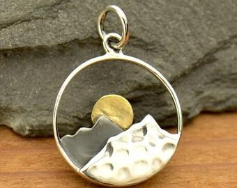 Sterling Silver, Mountain Range, Mountain Pendant, Range Pendant, Bronze Sun, Sun Charm, Nature Charm, Mountain Charm, Range Charm