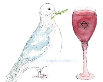 Passover Peace / Passover / Greeting Card / Blank / A2 / Envelope / Recycled Paper / Watercolor