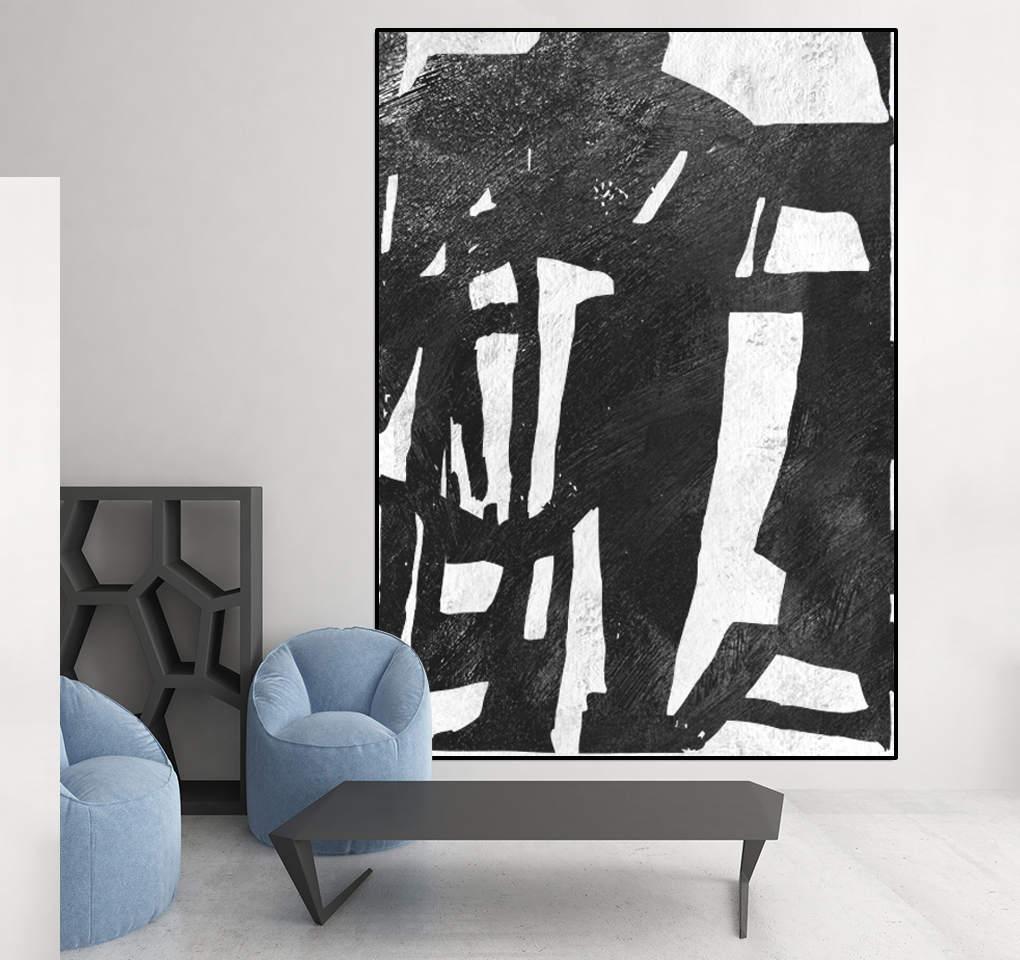 großen schwarzen und weißen abstrakte Kunst Leinwand Kunst