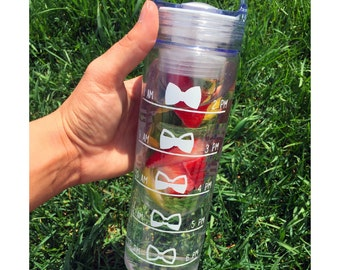 Personalized Water Bottle Infuser Fruit Time Chart Waterbottle Custom Bow Water Levels Health and Wellness Monogram Monogrammed Mongramed