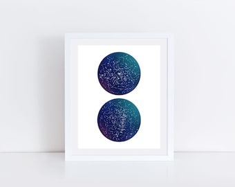 Constellation Print, Star Map Decor, Astronomy Art, Space Theme, Every Visible Star, Romantic Gift, Gift of Stars, Star Sign Print