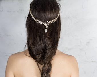 Zirconia Bridal Hair Vine / Gold Hair Wreath
