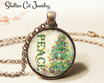 "Peace Christmas Tree Necklace - 1-1/4"" Circle Pendant or Key Ring - Wearable Photo Art Jewelry - Winter, Artwork, Holiday, Christmas Gift"