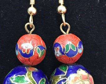 Vintage cinnabar and Cloisonné drop earrings navy and red floral