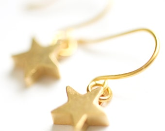 Tiny Gold Star Earrings, Gold Plated Star Earrings, Girls Earrings