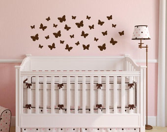 Butterfly Wall Decal - Set of 30 Butterfly Decals Nursery Wall Decal - Butterfly Decal for Walls - Wall Decal Removable - Butterfly Stickers