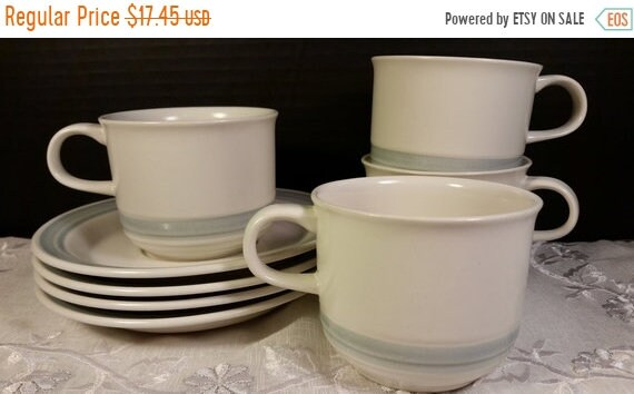 Delayed Shipping Country Glen Sunny Meadows Stoneware Cups & Saucers Vintage Set of 4 Japan Stoneware Blue Cream Stripe Cups and Saucers Ove