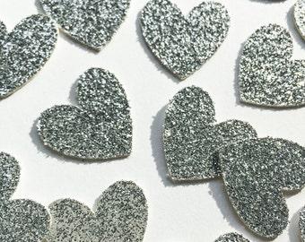 Silver Glitter Heart Confetti • Wedding Confetti • Bachelorette Confetti • Birthday Confetti • Bridal Shower Confetti • Party Decor