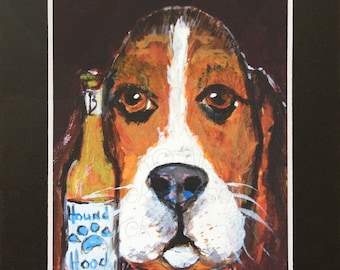 Basset Hound Painting - Funny Dog with Beer PRINT - Basset Hound Art Print in 5x7 Black Mat - Dog Gift - Basset Hound Wall Art