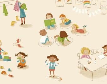 Kids cotton fabric American Kinder - class cream background - 50 cm (110 x).