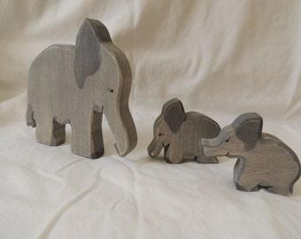 Wooden Safari animals Elephants waldorf style