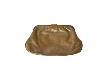 Vintage Brown Clutch Purse Brown Clutch Beige Clutch Bag Brown Purse 80's Clutch Purse
