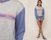 Wilson Sweatshirt STRIPED Ringer Shirt V Neck Slouchy Sports 80s Sweater Pullover Heather Grey Purple 1980s Vintage Retro Extra Large xl