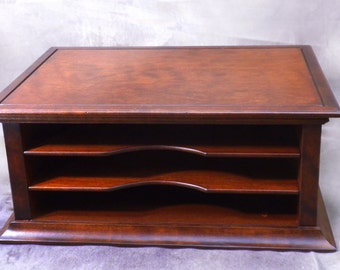 Wood Monitor Stand and Flat File Sorter in Dark Cherry