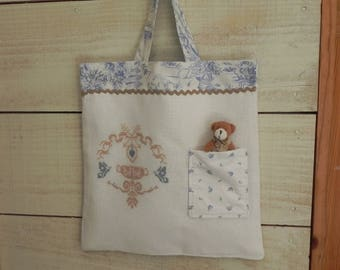 Taupe embroidery baby bag and matching fabric and blue