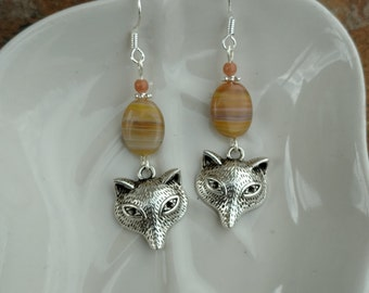 Brown Stripe Fox Sterling Silver Earrings, Brown Fox Earrings, Fox Earrings
