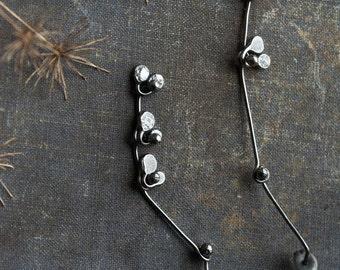 dainty earrings, plant earrings, asymmetrical earrings, gift for her, stud earrings, oxidised silver post earrings, botanical jewellery