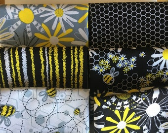 Bumble Bumble Bundle from Kanvas Studio for Benartex - 6 Fat Quarters or Half Yards of Daisies, Bees, + Honeycomb Blenders