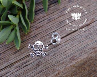 Silver Skull Studs Skulls & Cross Bones Punk Jewelry Halloween Studs Silver Skull Earrings Heavy Metal Studs Scary Studs Novelty Earrings