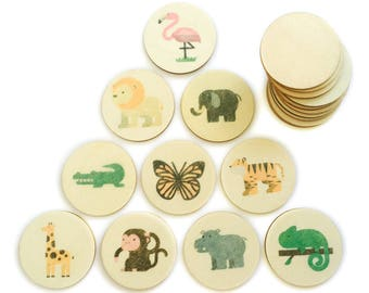 jungle animals - memory match | my little set | wooden game | story stones | memory match |