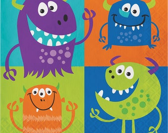 Monster Birthday Party Napkins/ Monster Party Napkins/ Monster Party/ Large Monster Napkins