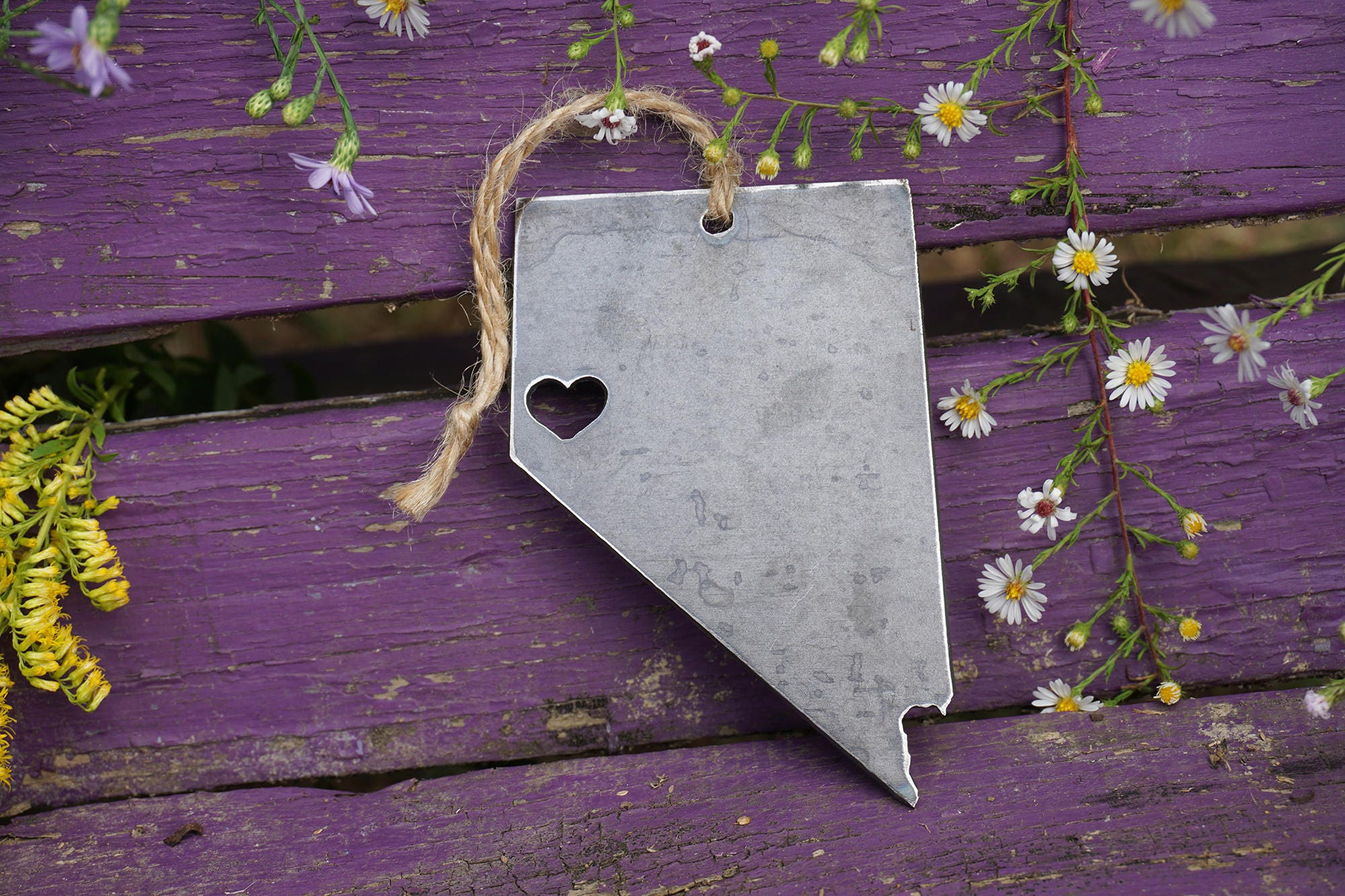 Reno Nevada Christmas Tree Ornament Rustic Metal State Heart