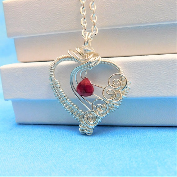 Ruby Necklace Unique Artisan Crafted Woven Wire Wrapped Artistic Gemstone Heart Pendant July Birthstone Jewelry Birthday Gift Idea for Women