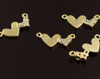 3172011 / 2 Hearts / 16k Gold Plated Brass with Cubic Zirconiia Connector 15mm x 6.5mm / 0.6g / 2pcs