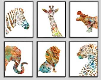 Watercolor print, animal print, art print, watercolor animals, african animals watercolor art jungle art animal decor, Set of 6 prints - S1