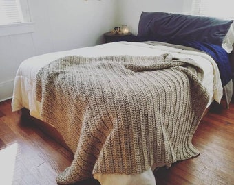 Large Cozy Textured Blanket // Chunky Wool Blend Crocheted Afghan // SALE
