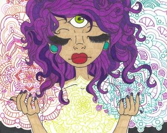 Awakening Goddess 3rd Eye Psychedelic Original Art Print Spiritual Third Eye Chakra Trippy Mandala