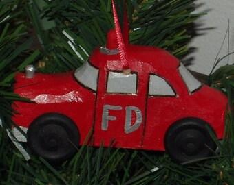 Fire Car, Handcarved Fire Car, Wood Fire Car, Fire Car Ornament,