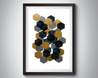 Black and Gold Decor, Abstract Wall Art, Copper Home Decor, Modern Wall Art, Dining Room, Minimalist Art, Art Print