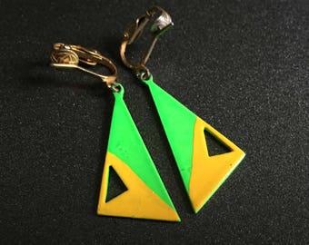Neon Green Clip Earrings, Geometric Jewelry, Neon Green and Yellow, 80s Jewelry, Vintage Jewelry, Triangle Drop Earrings