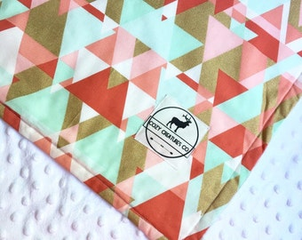 Mint, coral, & gold geometric baby blanket