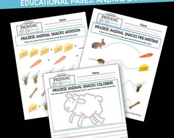 Preschool Educational Printable Pack: Prairie Animal Snacks Worksheets Math, Prewriting, Coloring Page, animals, homeschool, teaching, PreK,