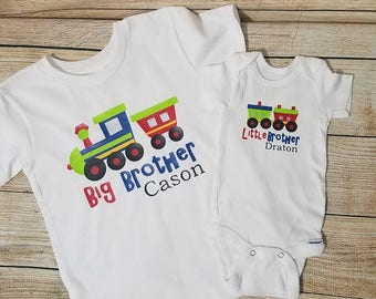 Big Brother Shirt - Little Brother Onesie - Big Brother - Little Brother Train and Caboose - Going Home Outfit Newborn Baby Choo Choo Train