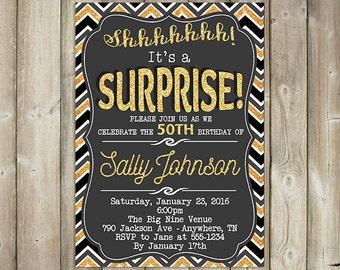 SURPRISE BIRTHDAY INVITATION - Adult Birthday Party Invite - Black and Gold - Digital File