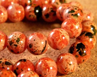 "20 ""reality"" 8 mm - brown rust - PE168 glass beads"