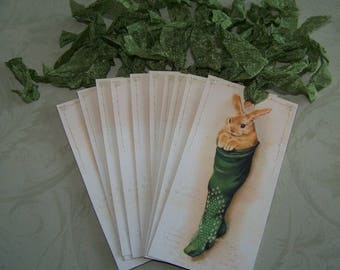 Christmas Tag Vintage Style Christmas Bunny in Stocking Cute Christmas - Set of 10