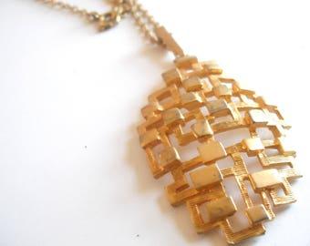 vintage modernist pendant  goldtone