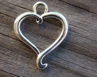 20 Silver Heart Charms 21mm Open Hearts