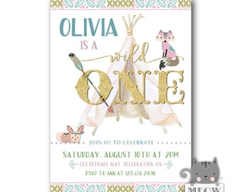 Wild One Birthday Invitation, Wild One invitations, Wild 1st Birthday Invitations, Girls Wild One Birthday Party Invites, Digital / Printed