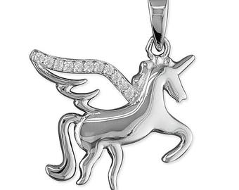 Unicorn with Cubic Zirconia Wings Sterling Silver Pendant