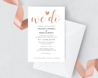 Rose gold wedding stationery, Printable wedding invitation template, Instant download, Editable pdf invitation pdf, Blush wedding invites
