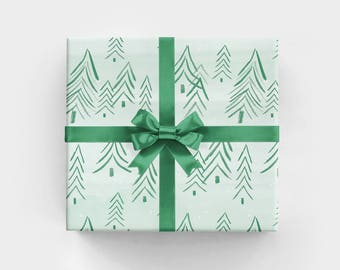 Christmas Wrapping Paper with Evergreen Trees on Watercolor Background Masculine Gift Wrap Holiday Wrapping Paper for Nature Lovers
