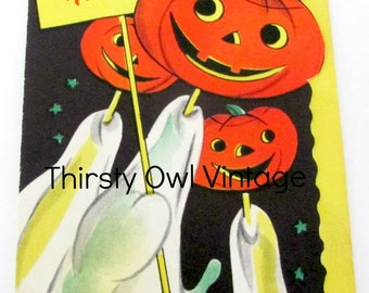 Digital Download, Vintage Halloween Image, 1950's Gibson Halloween Card, Vintage Jack O' Lantern Image, Printable Image, Scrapbooking