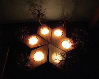 Trees In Autumn ~~ Decorative Autumn Themed Sculpture ~ Tea Light Holder / Plate (Tree Of Life Candleholder)